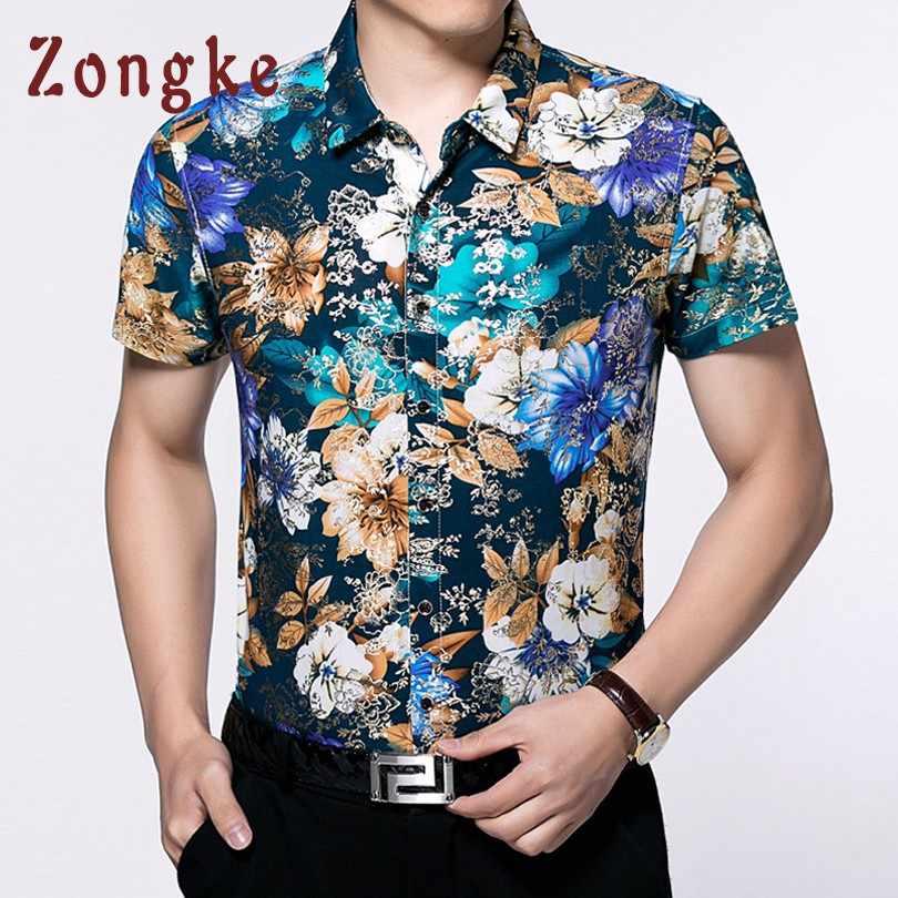 Zongke синий Цветочная гавайская рубашка Для мужчин Изделие из хлопка с короткими рукавами Мужская гавайская рубашка летние социальных Цветок Гавайская рубашка Человек 2019