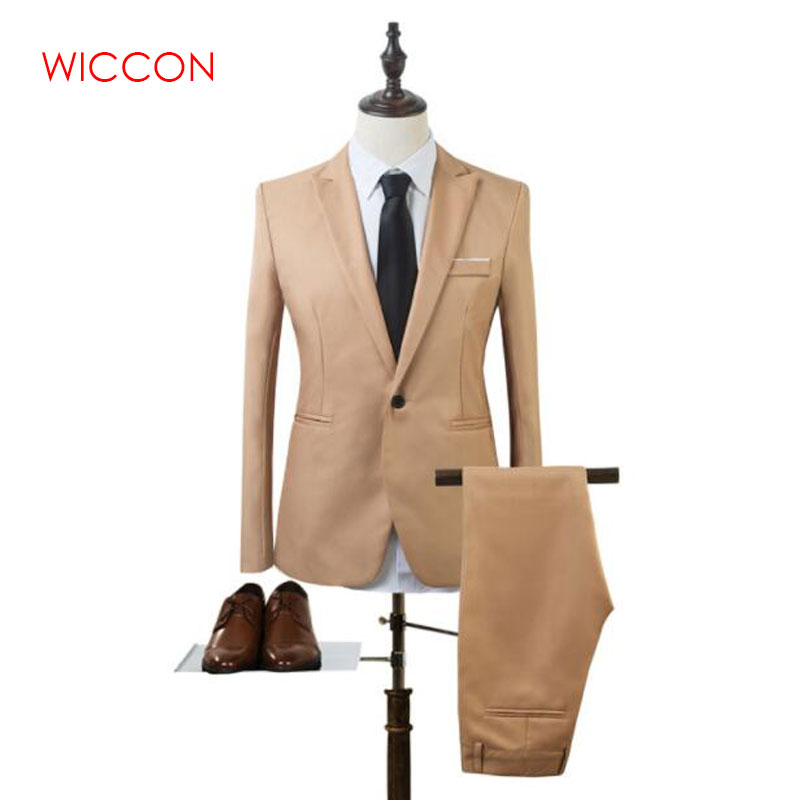 New Fashion Men's Suit Suit Groom Solid Color Wedding Dress White-collar Work Dress Jacket + Pants Suit Casual Suit
