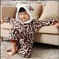 2016 Новый пижамы leopard KT Cat Зимние Onesies Unisex Малыш Животных фланелевые Пижамы для Мальчиков Grils Пижамы Пижамы Onesie Костюм