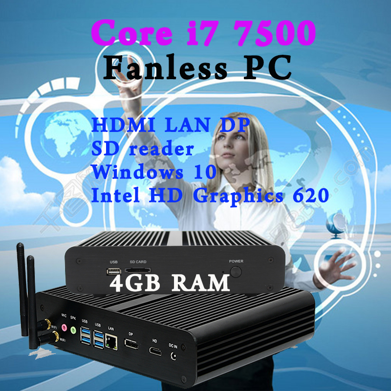 Mini PC In stock 7e Gen Intel Core i7 7500U Eglobal Windows 10 Max 3.5 GHz Intel HD Graphics 620 Free shipping bluetooth Optiona win10 mini pc 7th gen intel core i5 7200u kaby lake fanless nuc htpc intel hd graphics 620 4k tv box hallowmas gift