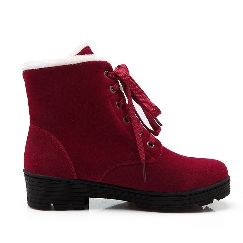 Image 4 - Lace Up Snow Boots Women Winter Short Boots Ladies Mid Square Heels A278 Fashion Warm Shoes Woman Red Black Apricot Ankle Boots-in Ankle Boots from Shoes