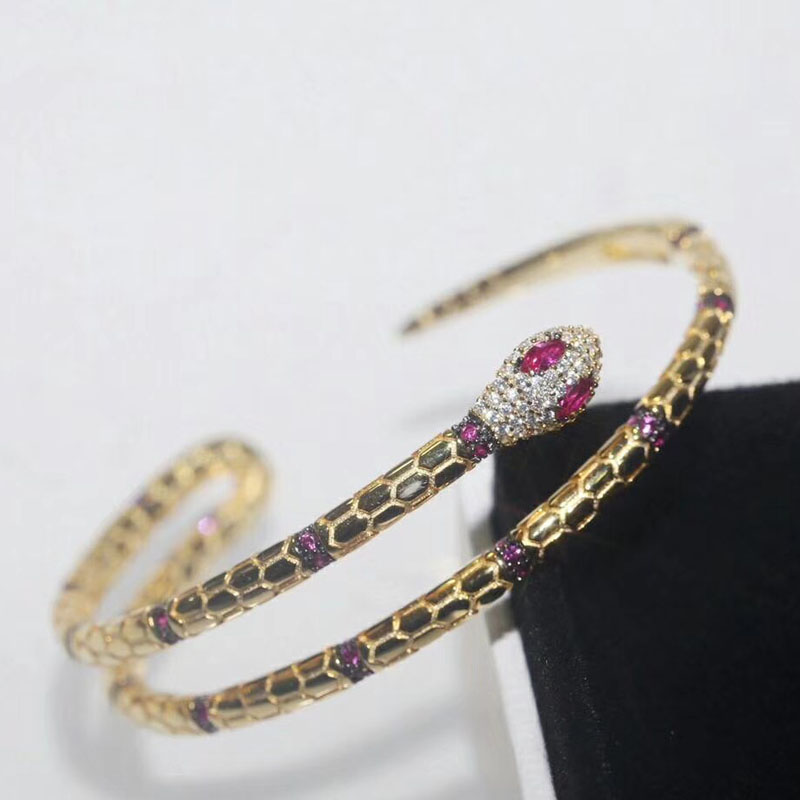 Top 925 Sterling Silver Luxury Egyptian Snake Bangle Cuff Micro Inlay Red Cubic Zirconia Women Luxury