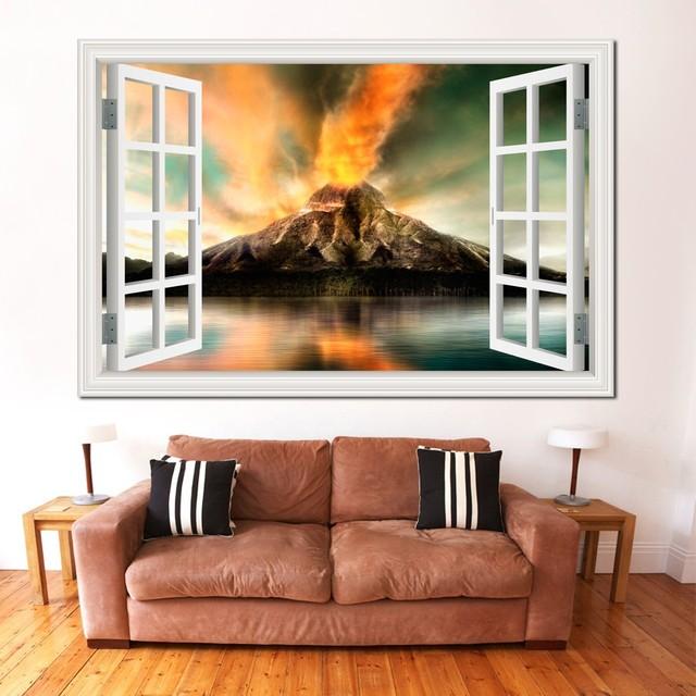 US $5.35 33% di SCONTO|Finestra 3d Scenery Wallpaper Natura Paesaggio  Adesivi Murali Fuoco Incredibile Vulcano Decalcomania Del Vinile Murale Art  Home ...