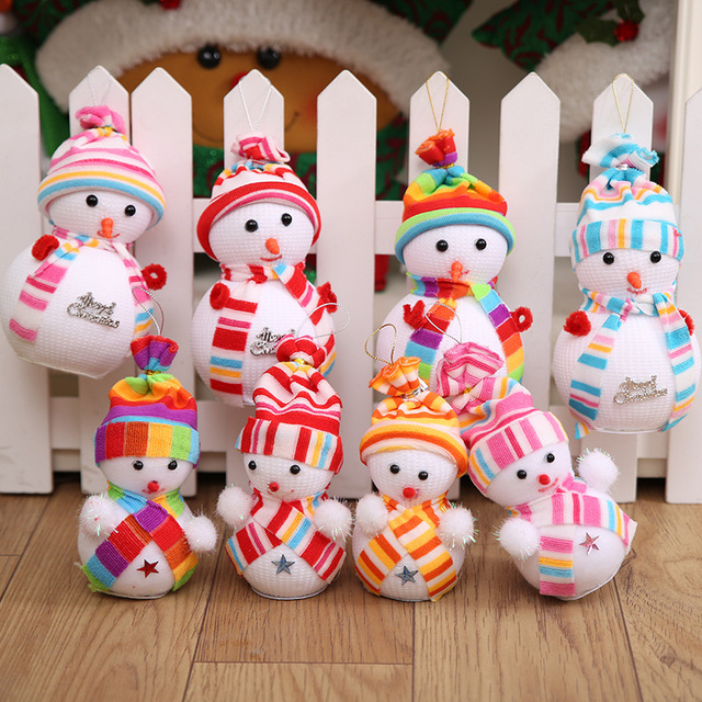 4 pcsset christmas tree decorations snowman doll kids christmas gift tiny toy party decor