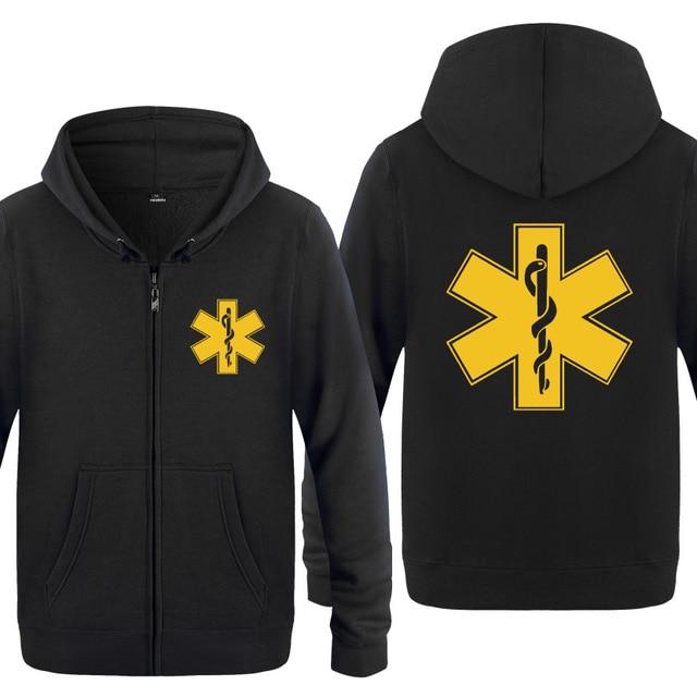 Zipper Hoodies Men EMT Emergency Ambulance Printed Mens Hoodie Brand Fleece Long Sleeve Mens Jacket Sweatshirt Moletom Sudaderas