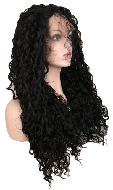 QQXCAIW Long Kinky Curly Synthetic Lace Front Wig For Women 70 Cm Artificial Hair Black Wigs With Baby Hair