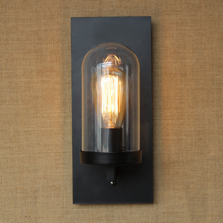 Loft American vintage industrial wall lamp indoor lighting bedside lamps lights for home glass Lampshade wandlamp 110v 220v 2016 vintage e27 wall lamp loft indoor outdoor lighting bedside screw thread style black metal lamps lights for home corridor