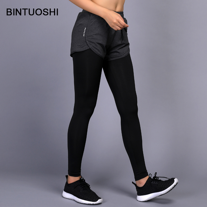 BINTUOSHI 2 In 1 Yoga Pants Women Gym Workout Fitness Leggings+Shorts Compression Running Tights Jogging Sport Trousers 2017 women compression sexy gym yoga shorts lulu training sports short jogging cycling fitness leggings athletic workout clothes