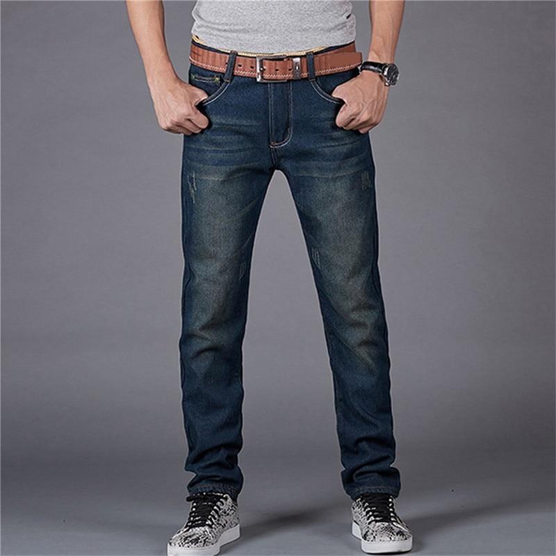 Fashion Men Slim Fit Pencil Jeans Pants Casual Warm Long Pants with Thickening Velvet Male Autumn Winter Jeans Pants Drop Ship