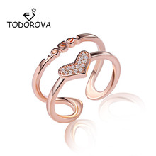 Todorova Double Layer Sparkling Letter Love Heart Finger Rings for Women Wedding Engagement Jewelry Valentines Day Gift