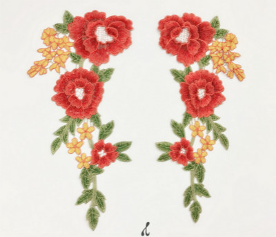 4Pcs Lot Water soluble embroidery applique flower clothes, sleeves, collar accessories lace patch hand sewing fabric SM372