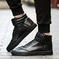 De moda de Alta Superior Zapatos de Los Hombres Planos de Cuero de LA PU Del Tobillo Botas para Hombre de Hip-Hop Skate Cordón Zapatos Zapatillas Hombre Chaussure Homme