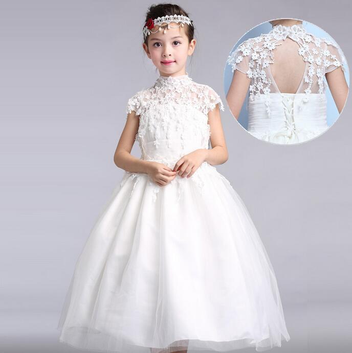 Elegancka długa suknia ślubna dla kwiat dziewczyny stałe