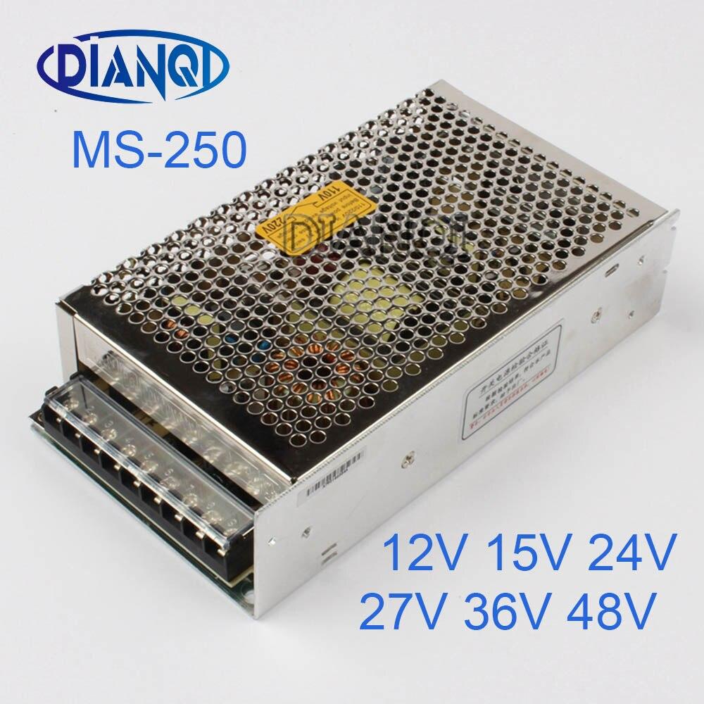 DIANQI 48V 36V Mini Size Switching Power Supply adjustable 12V 250W ac to dc regulator for LED strip ms-250 15V 5V 24V dianqi mdr 100 12v 5v 15v 24v 36v 48v 100w din rail power supply ac dc driver transformers for led strip light 110v 220v