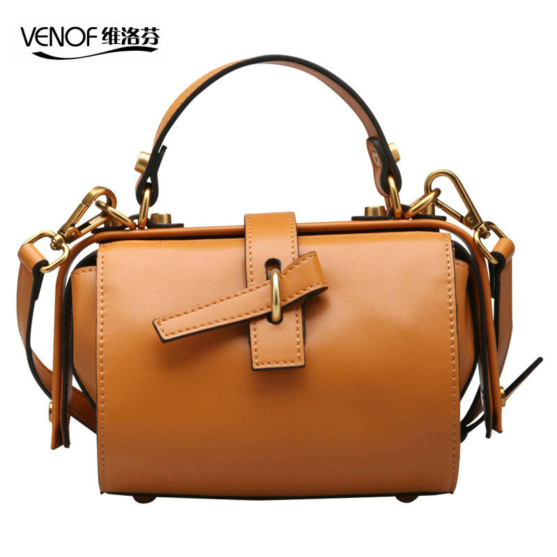 VENOF 2018 luxury handbags women bags designer retro small doctor bag women split leather ladies shoulder bag mini Messenger bag viewinbox vintage shoulder bag split leather casual women messenger handbags retro box case bag
