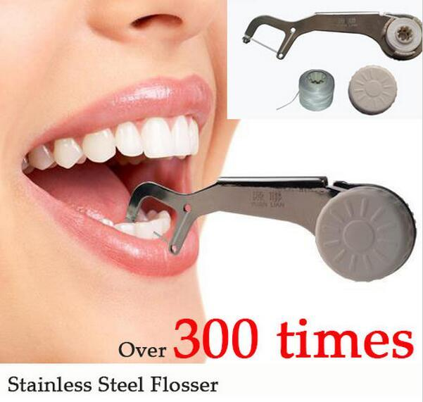 New Eco Stainless Steel Dental Flosser Oral Hygiene Dental Floss Dentes Toothpicks 300 Times Reusable clean between Teeth