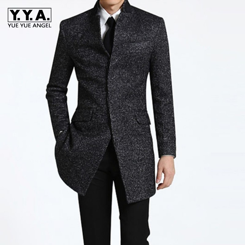 Spring Winter Mens business Long Coats casual wool trench coat overcoat Male fashion cas ...