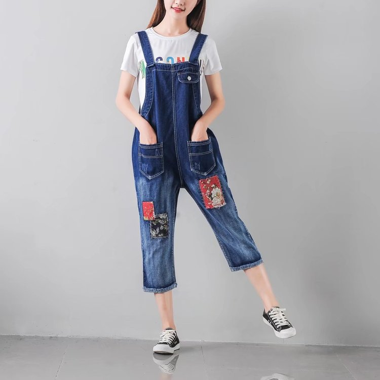 Summer New Women Casual Medium Washed Denim Jeans Jumpsuit Casual Ripped Bib Jeans Playsuit Babero denim overalls male suspenders front pockets men s ripped jeans casual hole blue bib jeans boyfriend jeans jumpsuit or04
