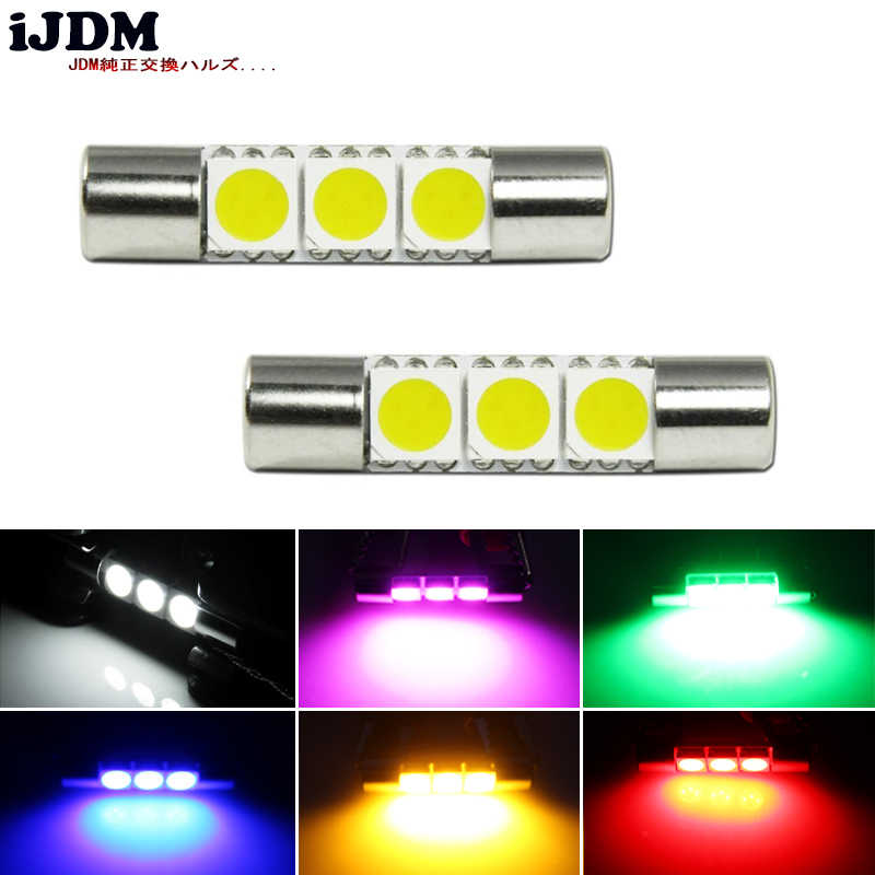 iJDM 4pcs Xenon White 29mm 3-SMD 6641 Festoon LED Replacement Bulbs For Car Vanity Mirror Lights Sun Visor Lamp Red,Yellow,blue