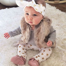 Комплект одежды для новорожденных девочек, топ-боди с длинными рукавами+ штаны с золотым сердечком+ повязка на голову, комплект одежды из 3 предметов для маленьких девочек