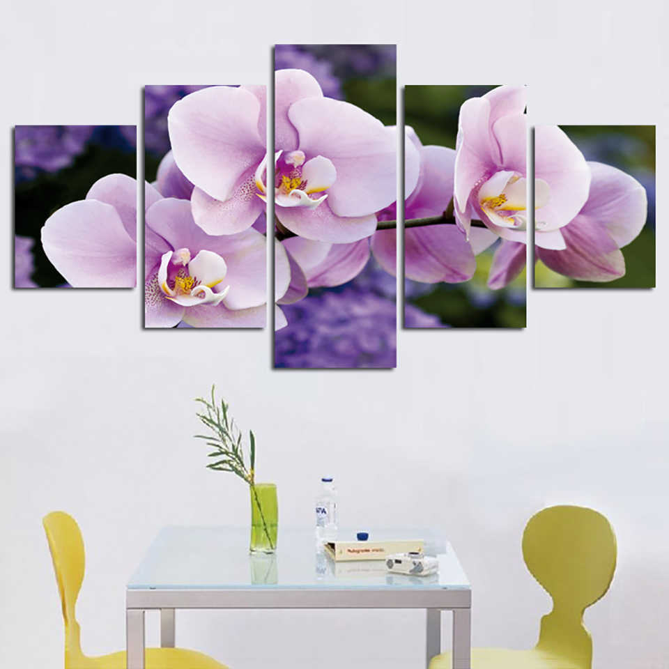 HD Printed Modern Painting On Canvas Posters Frame 5 Panel Pale Pink Flowers Modular Picture Wall Art Home Decor Living Room