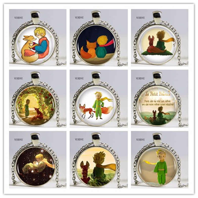 VERDVE Little Prince Sign Crystal Glass Pendant Necklace Men's Ladies Fashion Jewelery
