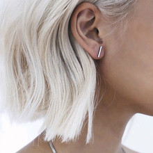 2016 Fashion Gold Silver Punk Simple T Bar font b Earrings b font For font b