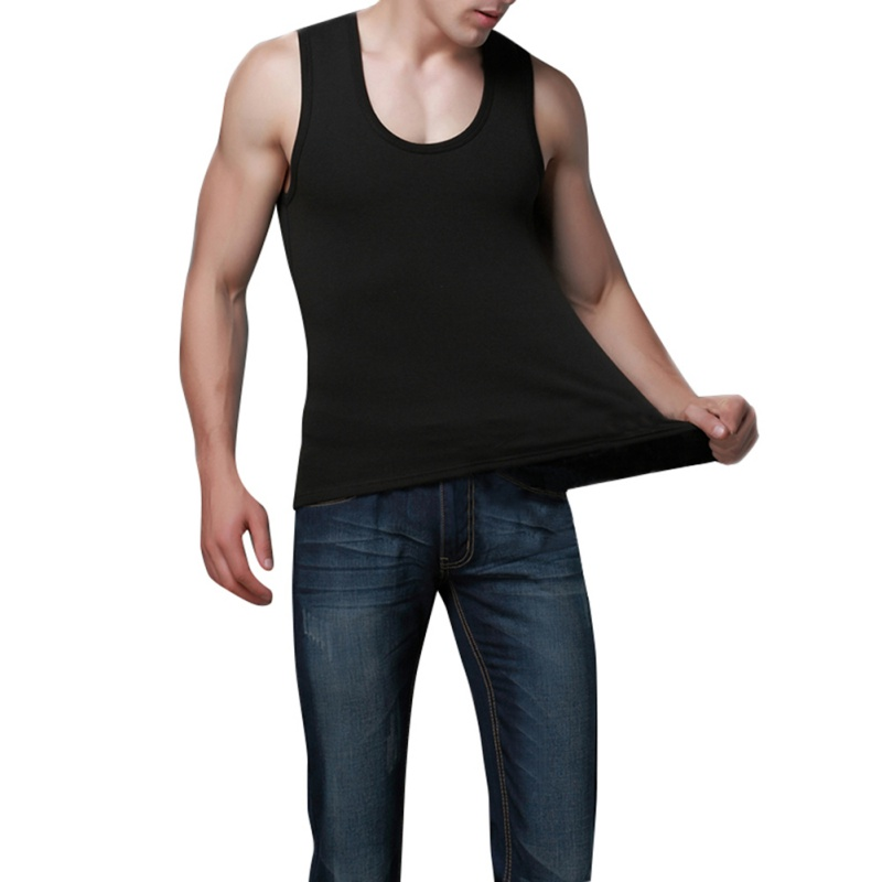 Mens Sleeveless Pullover Solid Oculos Top T-shirts For Men Undershirt Tank John Vest Warm Velvet Cotton Underwear Tops Winter