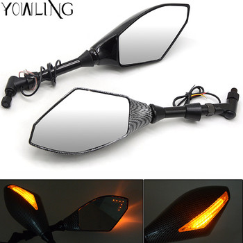 Carbon 8MM 10MM Motorcycle LED Turn Signal Light Rearview Mirrors For bmw S1000R R1200ST R 1200ST R 1200 ST 2006- 2017 mt09 mt07