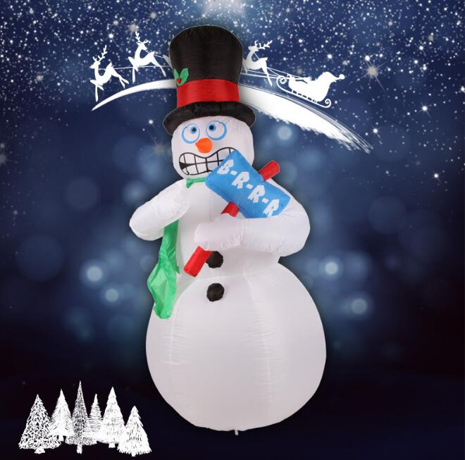 2017 Vioslite 2.1M Inflatable Christmas Funny Snow Man in High Quality for Festival Decoration 5m high big inflatable christmas santa claus climbing wall decoration 16ft high china factory direct sale festival toy