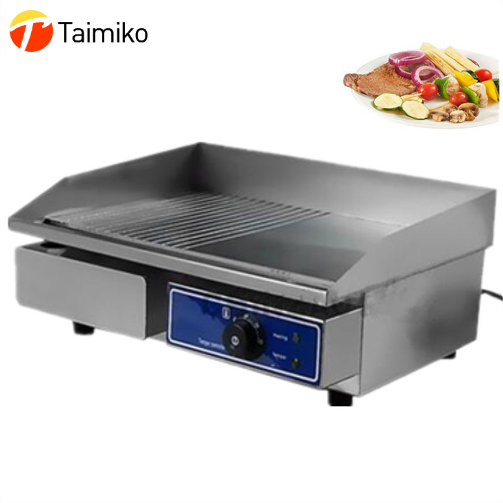 RU Stock Mini Electric Griddle Barbecue Griddle Machine with Half Flat Plate Half Groove Plate Double Temperature Control ru stock electric griddle barbecue griddle machine with half flat plate half groove plate double temperature controllers