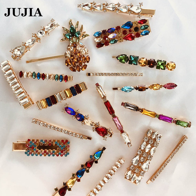 JUJIA 2019 New Fashion Crystal Hairpin Shiny Rhinestones za Hair Clips Hair Accessories For Women Girls Barrettes