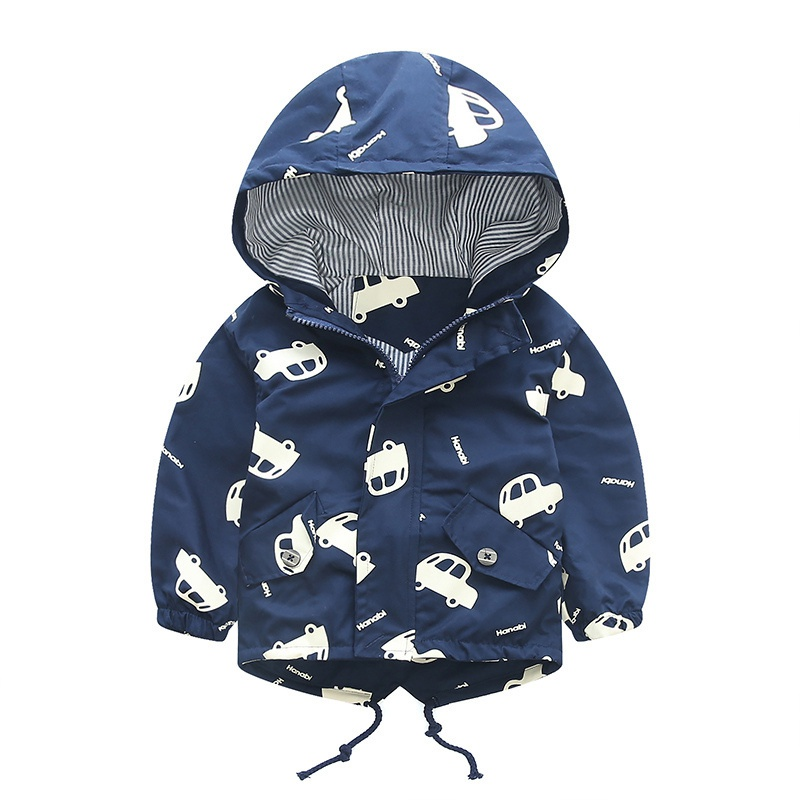 New Spring Jacket Boys Girls Kids Outerwear Cute Car Windbreaker Coats Print Canvas Baby Children Clothing