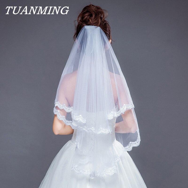 e13d0aa89d Velo de novia de encaje de dos capas Apliques de encaje suave de la boda  velos con peine Blanco Marfil nupcial accesorio de la gasa de Mariage