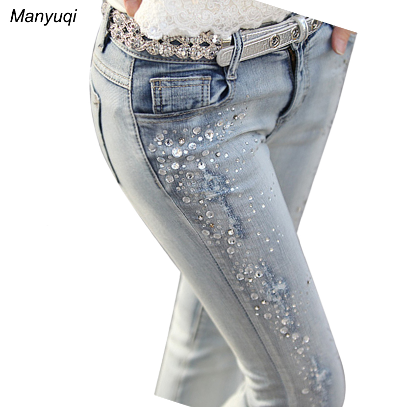 Manyuqi pencil Jeans for women light blue rhinestones