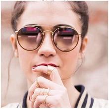 High Quality Real Glass Lens Round Sunglasses Women Men Brand Retro 3647 Female Metal Ladies Mirror UV400