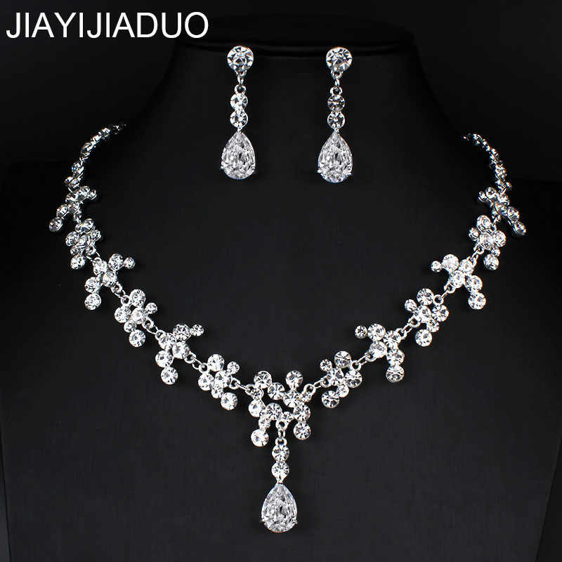jiayijiaduo Women's Wedding Jewelry Set Silver Color Zircon Necklace Earrings for Bridesmaid Dress Accessories dropshipping new