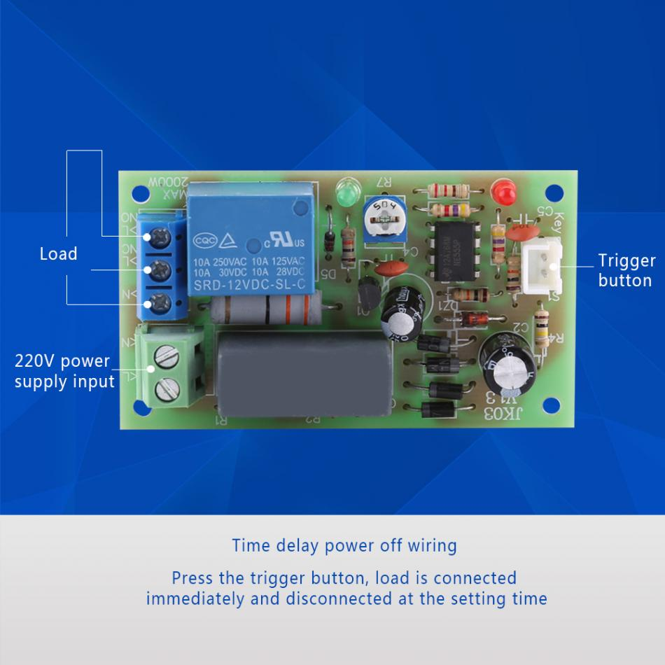 Ac220v Relay Timer Module Switch Trigger Time Delay Circuit Getsubject Aeproduct