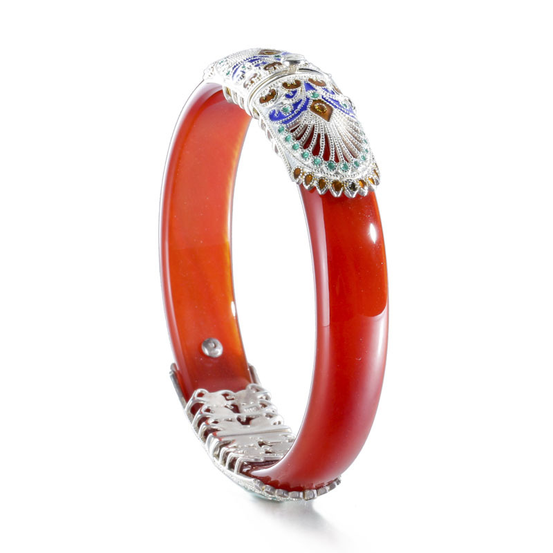 925 sterling silver red agate bangles red handmade ethnic natural 35 7g red agate enamel bangle