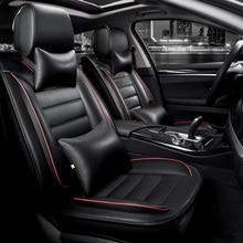 KKYSYELVA Front Rear PU Leather Auto Universal Car Seat Covers Automobile