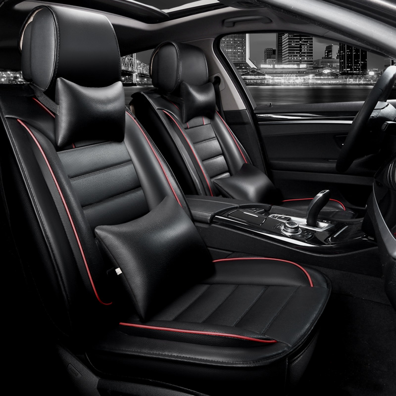 KKYSYELVA Front Rear PU Leather Auto Universal Car <font><b>Seat</b></font> <font><b>Covers</b></font> Automobile <font><b>seat</b></font> <font><b>cover</b></font> Car <font><b>Seat</b></font> Cushion Set Interior Accessories