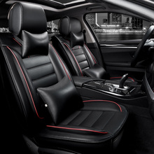 KKYSYELVA Front Rear PU Leather Auto Universal font b Car b font Seat Covers Automobile seat
