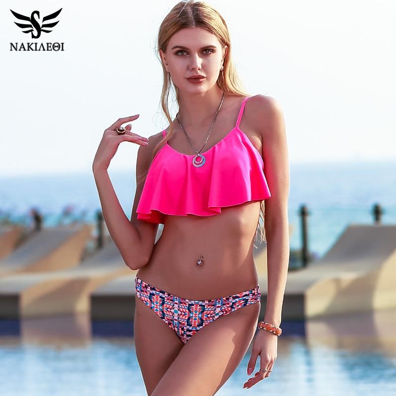 NAKIAEOI 2018 New Sexy Bikinis Women Swimsuit Push Up Swimwear Bandage Print Brazilian Bikini Set Ruffle Bathing Suits Swim Wear 1