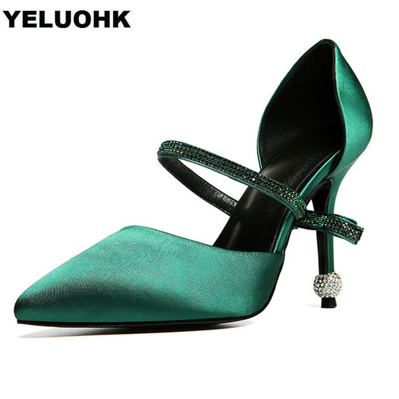 Fashion Rhinestone Mary Janes Shoes Women Sexy High Heels Black Heel Pointed Toe Ladies Shoes For Wedding Elegant Women Shoes large size 42 rhinestone shoes women low heel pumps pointed toe genuine leather shoes women high heels mary janes ladies shoes