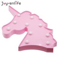 JOY ENLIFE 1pcs Lovely 3D Unicorn Head Led Night Light Kids Christmas Birthday Party Gifts Baby