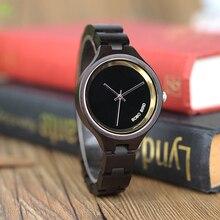 BOBO BIRD P16 ผู้หญิงเรียบง่ายนาฬิกาไม้คลาสสิกสีดำDialผู้หญิงควอตซ์นาฬิกาไม้กล่อง