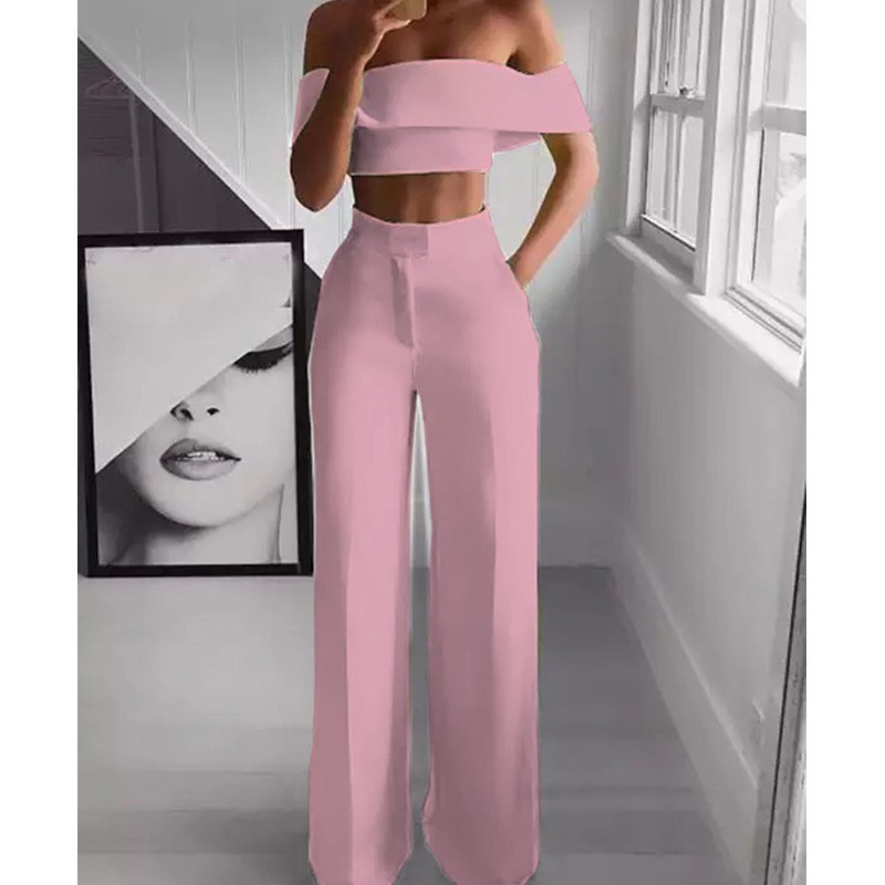 White Rompers Womens Jumpsuit Black Sexy Jumpsuit Trousers Female Off Shoulder Pink Jumpsuit Two Piece Jumpsuits For Women 2019 in Jumpsuits from Women 39 s Clothing