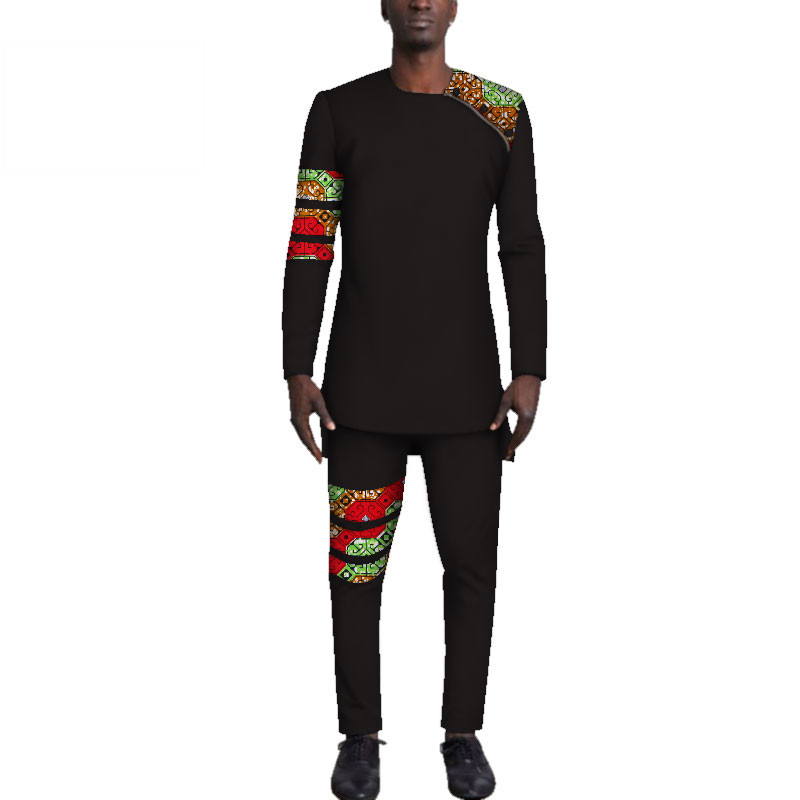Casual-Mens-African-Clothing-Bazin-Riche-Patchwork-Top-Shirt-and-Pants-for-Men-Custom-100-Cotton(16)