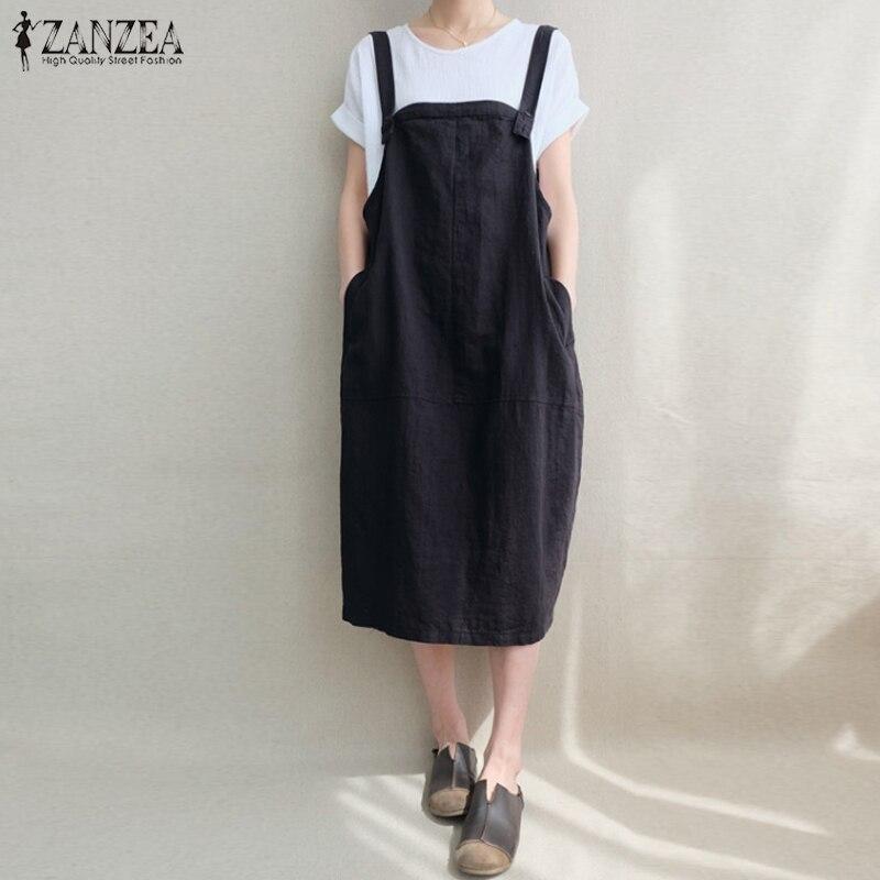ZANZEA Overall Dress Women Suspenders Vestido Lady Linen Dresses Casual Sleeveless Kaftan Robe Femme Vintage Solid Pockets Dress
