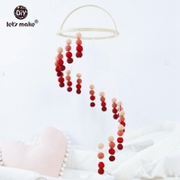 Let's make Bed Bell Red Gradient Baby Mobile Baby Crib Mobile Nursery Cot Gender Neutral Monochrome Felt Ball Baby Gift Rattle